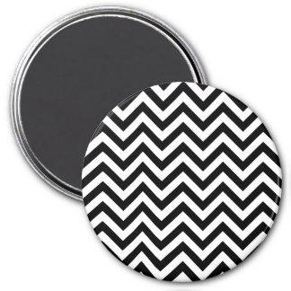 Simple Black White Chevron Pattern 3 Inch Round Magnet