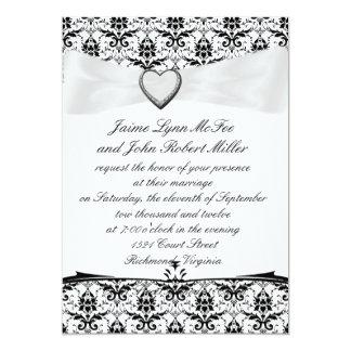 Simple Black White Damask/Ribbon Wedding Invitatio 5x7 Paper Invitation Card