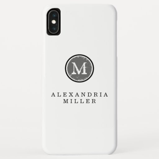 Simple Black White & Gray Monogram Medallion iPhone XS Max Case
