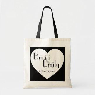 Simple black white heart customizable wedding bag