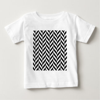 Simple Black White Herringbone Pattern Baby T-Shirt