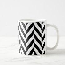 Simple Black White Herringbone Pattern Coffee Mug