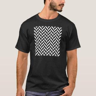 Simple Black White Herringbone Pattern T-Shirt