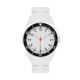 Simple Black White Hour Minute Seconds Numbers Wristwatches