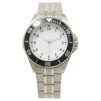 Simple Black White Hour Minute Seconds Numbers Wrist Watch