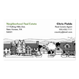 Simple Black & White Illustration of Homes Double-Sided Standard Business Cards (Pack Of 100)