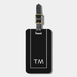 Simple Black White Lines Bold Monogram Bag Tag