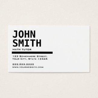Simple Black & White Math Tutor Business Card
