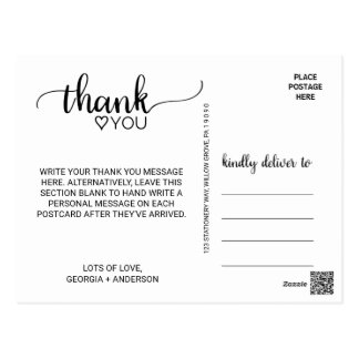 Simple Black & White Modern Calligraphy Thank You Postcard