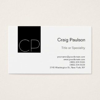 Simple Black White Monogram Business Card