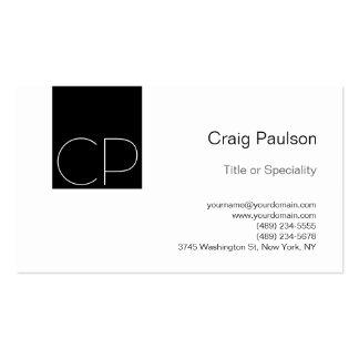 Simple Black White Monogram Business Card