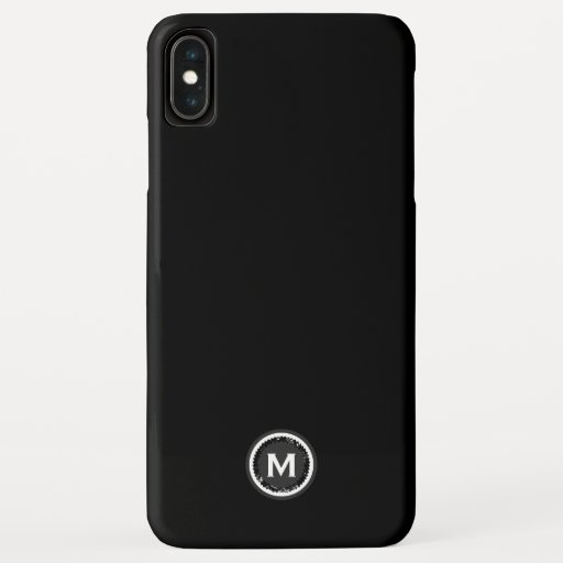 Simple Black & White Monogram Medallion iPhone XS Max Case
