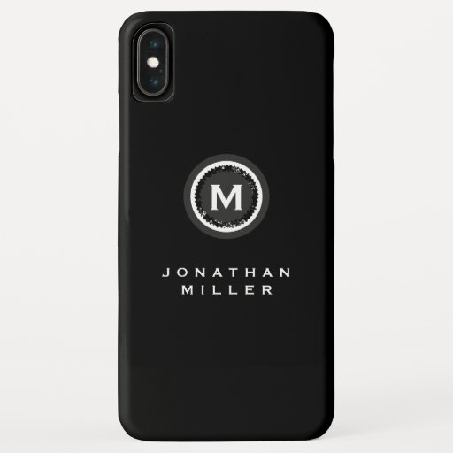 Simple Black & White Monogram Medallion | Name iPhone XS Max Case