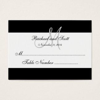 Simple Black White Monogram Wedding Seating Card