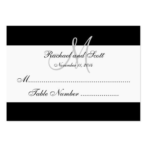 Simple Black White Monogram Wedding Seating Card Business Card