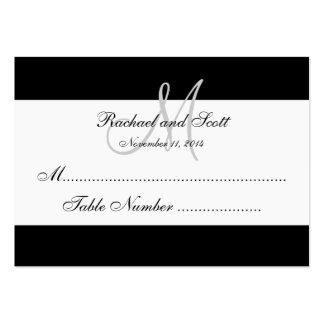 Simple Black White Monogram Wedding Seating Card Large Business Card