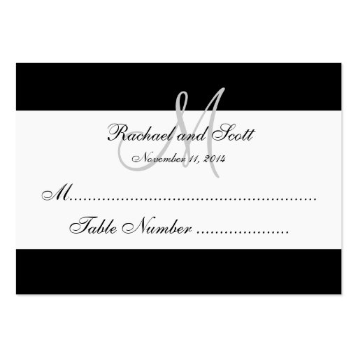 Simple Black White Monogram Wedding Seating Card Large Business Cards (Pack Of 100)