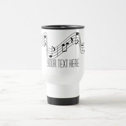 Simple Black White Music Notes Custom Name Mug