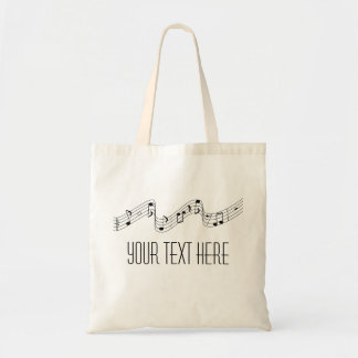 SImple Black White Music Notes Custom Name Tote