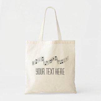 SImple Black White Music Notes Custom Name Tote Budget Tote Bag