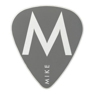 simple black / white name / initial acetal guitar pick