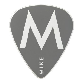 Simple Black / White Name / Initial Acetal Guitar Pick by mixedworld at Zazzle
