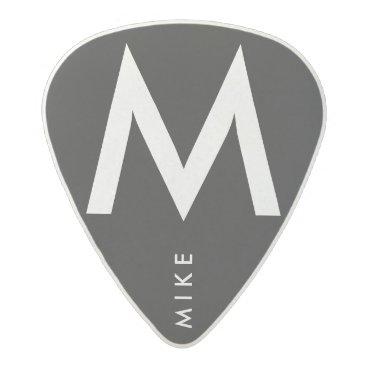 mixedworld simple black / white name / initial acetal guitar pick