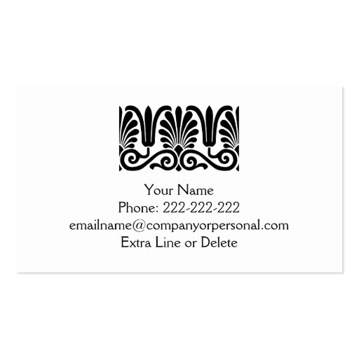 Simple Black White Palmette Damask Professional Double-Sided Standard Business Cards (Pack Of 100)