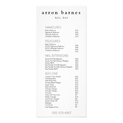 Simple  Black White Salon Price List Service Menu