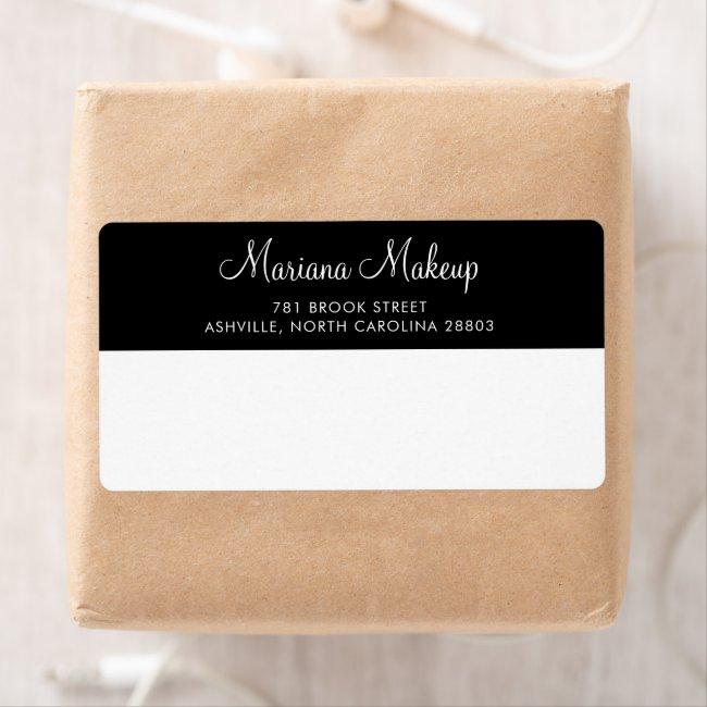 Simple Black White Script Business Return Address Label