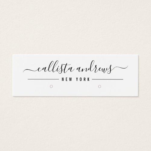 Simple Black White Script Earring Display Card