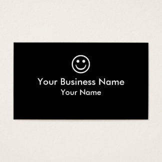 Simple black white smiley face business cards