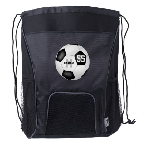 simple black white soccer ball boys or girls drawstring backpack