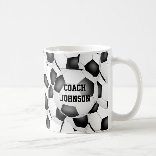 simple black white soccer balls team coach gift coffee mug