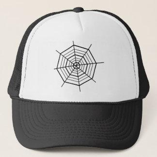 SIMPLE BLACK & WHITE SPIDER WEBS TRUCKER HAT