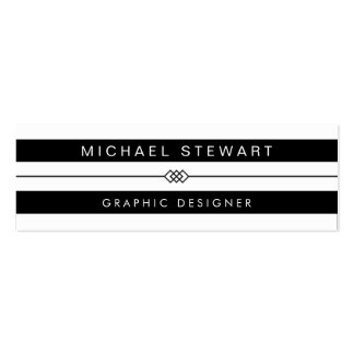 Simple Black White Stripes - Modern and Unique Mini Business Card