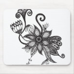 Simple Black & White Tangle Flowers Mouse Pad