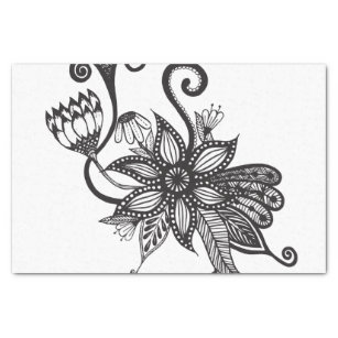 Black and white hand drawn flower craft tissue paper zazzle simple black white tangle flowers tissue paper mightylinksfo