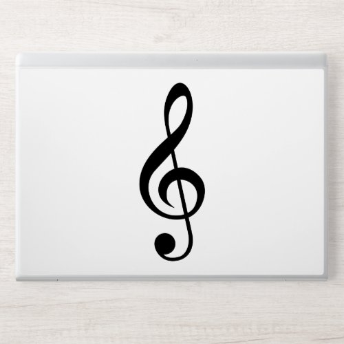 Simple Black & White Treble Clef DJ HP Laptop Skin