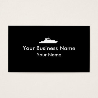 Simple black white tug boat business cards