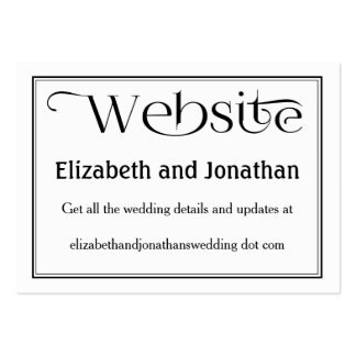 Simple Black & White Wedding Website Card Pack Of Chubby Business Cards