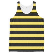 Simple Black/Yellow Bee-Inspired Stripes All-Over-Print Tank Top
