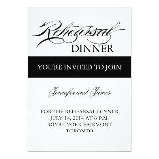 Simple blanco y negro de la invitación de la cena