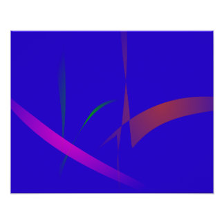 Simple Blue Abstract with Slashing Colors Poster