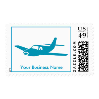 Simple blue airplane customizable postage stamps