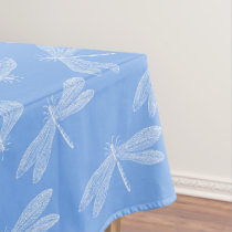 Simple Blue and White Dancing Dragonflies Pattern Tablecloth