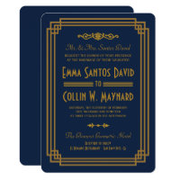 Simple Blue Art Deco Wedding Invites