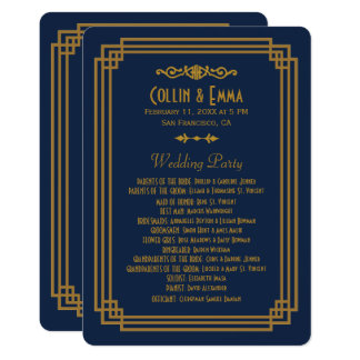 Simple Blue Art Deco Wedding Programs