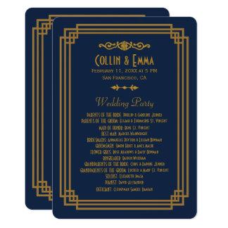Simple Blue Art Deco Wedding Programs