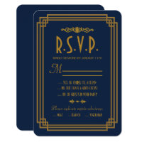 Simple Blue Art Deco Wedding RSVP Cards